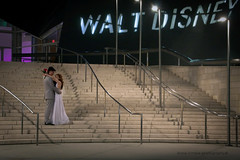a little night romance (Diane Trimble --- dianemariet) Tags: wedding losangeles newlyweds waltdisneyconcerthall rlb bridalcouple weddingatthedisneyconcerthall weddingportraitonstaircase