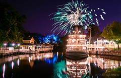 Fireworks over the Rivers of America - Magic Kingdom (Explored) (Adam Hansen) Tags: waltdisneyworld magickingdom libertysquare frontierland fireworks wishes libertybelle hauntedmansion riversofamerica hdr longexposure adobe photoshop lightroom orlando florida disneyvacation disneyfireworks