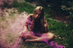 lilac haze. (L caitlin) Tags: pink portrait children natural smoke lilac bomb