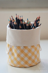 yellow gingham reversible bucket (Cozy Memories) Tags: handmade storage gingham cheerful organization uplifting earthfriendly homedecoration organiccotton hempcord cozymemories