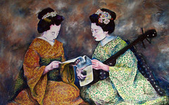 Geisha Music Lesson (Christy Freeman - artist) Tags: horse dog cat breed petportrait custompainting oilportrait watercolorartist petart