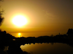 Sunset from Mar Charbel - Anaya - Lebanon (Hanna Khoury) Tags: sunset sea orange sun church saint st landscape soleil mar lac calm  paysage liban    charbel anaya     annaya maroun