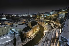 Luxembourg Old City view at night under snow - Explored (lathuy) Tags: old city winter snow abbey night europe long exposure hiver explore exposition neige luxembourg nuit ville vieille abbaye grund longue neumunster explored