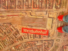 At Western Railway Station during Demolition and Rebuilding - For Odile -- Im Bahnorama Hauptbahnhof Wien - Am Sdbahnhof beim Westbahnhof stehen (hedbavny) Tags: vienna wien roof red rot