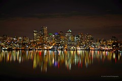 Seattle Cityscape (JohnCramerPhotography) Tags: reflection night landscape gasworkspark