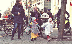 Easter Parade (krissen) Tags: street carnival kids easter parents sweden streetphotography retro parade karlstad witches tradition streetscenes vrmland easterparade flickrfriday easterwitches dressedout