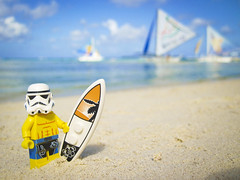 Surfer Stormie on vacation (pong0814) Tags: ocean summer vacation beach water canon fun outdoors photography starwars lego surfer philippines sunny lucasfilm powershot surfboard stormtrooper april pointandshoot boracay d10 minifigures 2013 legominifigures legofaces