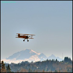Biplane Over Baker (bralorne1(Beachhead Photography)) Tags: blue trees sky mountain yellow plane airplane flight mountbaker biplane beachheadphotos