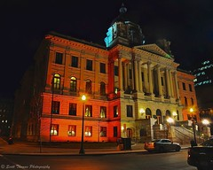 Orange Court (Scottwdw) Tags: lighting street city orange newyork building night lights spring nikon tripod central columns steps cny syracuse courthouse onondagacounty d700 afszoomnikkor2485mmf3545gifed scottthomasphotography