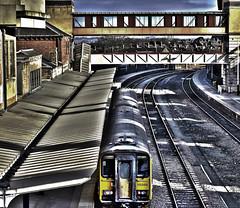 arriving at platform 1 (CeeJay Shots) Tags: bridge train traintracks tracks surreal railway railwaystation walkway trainstation harrogate hdr hdri hyperreal harrogatenorthyorkshire