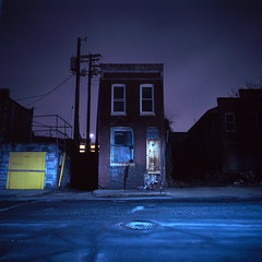 (patrickjoust) Tags: street city blue urban usa house color brick abandoned 120 6x6 tlr film home yellow night analog america dark square lens us reflex md focus long exposure fuji purple mechanical decay empty united release tripod north middleeast patrick twin maryland slide cable row baltimore east chrome vacant after medium format states tungsten manual 55 expired joust e6 balanced estados reversal unidos mamiyac330s autaut fujichromet64 sekor55mmf45 patrickjoust ebdi eastbaltimoredevelopmentinc