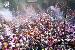 Holi @ Shri Banke Bihari Temple, Vrindavan (NisargPhotography) Tags: life eve blue boy red india playing abstract green art wet water colors girl face yellow festival closeup female balloons asian fun religious happy kid spring energy colorful pattern colours child display little background indian traditional joy young culture dry powder clothes celebration cover experience variety tradition dust holi range occasion arrangement throwing joyous individual rangoli mathura vrindavan indianfestivals nisarg andjoy gulal holicolours holiindia indiaholi nisarglakhmani nisargphotography holi2013 mathura2013 indiansholi shribankebiharitemple mathural