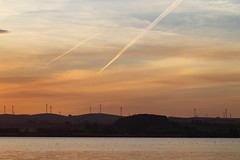 Contrails (blachswan) Tags: water clouds reflections dusk australia victoria contrails windtowers learmonth waubrawindfarm lakelearmonth