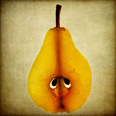 a sad pear of eyes (1crzqbn) Tags: stilllife color macro nature square seeds textures slice 7d pear shining hypothetical selfie hss cityart vividimagination artdigital trolled magicunicornverybest exoticimage 1crzqbn sliderssunday netartii asadpearofeyes