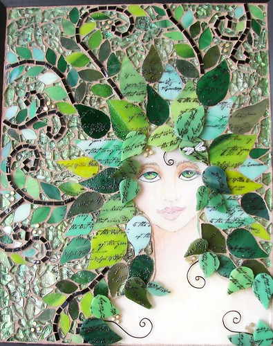 "Mixed Media mosaic ""Whisper in the Woods""-SOLD"
