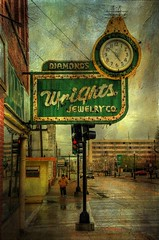Wright Jewelry-Wrong Time (TicKavich) Tags: street signs cars clock buildings antiques photomix magicunicornverybest blinkagain bestevercompetitiongroup bestevergoldenartists creativephotocafe besteverdigitalphotography besteverexcellencegallery