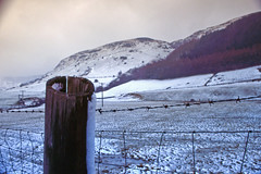 Hollow Post (Saturated Imagery) Tags: mountain snow film wales 35mm fence slidefilm e6 conwy moel canoneos300 cwmpenmachno kodakektachrome100g