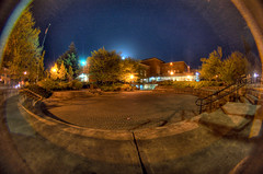 Fishbowl Fisheye with moonrise (daviddoctorrose) Tags: moon night d50 campus nikon fullmoon fisheye emu 8mm universityoforegon peleng erbmemorialunion