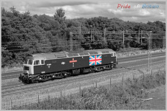 Pride of Britain (Resilient741 Photography) Tags: class 47 47580 county essex wcrc west coast main line railways limited ltd 47732 restormel res spoon duff 0v42 5v42 slindon staffs staffordshire rails br british rail train diesel loco locomotive selective desat artistic photo photograph photography union jack flag wcml