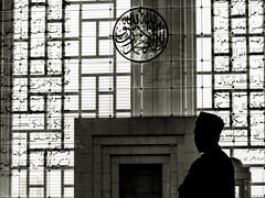 Steel Mosque - Putrajaya, Malaysia (Enhanced Interrogation) Tags: islam religion faith muslim silhouette mosque masjid putrajaya malaysia blackandwhite monochrome architecture reflection pensive thoughtful