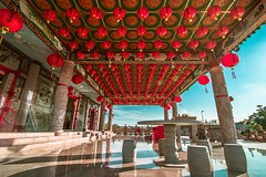 Sunset of Ban Siew Keng Temple (ailoon.photography) Tags: building architecture sunset tanglung red design pray bless table chair rock stone traditional culture heritage temple chinese