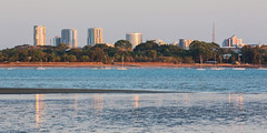 Darwin City at dusk, from East Point (Louise Denton) Tags: eastpoint darwin beach mudflats mud sand lowtide blue ocean water nt northernterritory australia buildings city lights reflection
