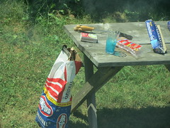Having A Cook Out. (dccradio) Tags: mountairy mtairy md maryland grass lawn greenery charcoal kingsford charcoalbag shadow aluminumfoil table boxofmatches glass drinkingglass spatula cookout grilling grill hotdogs summer