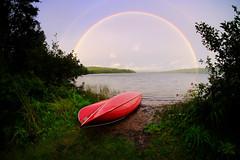 Algonquin Dreamcatcher (DHaug) Tags: algonquin park rainbow canoe killarneylodge lake shore red lakeoftworivers xpro2 fujifilm samyang fisheye august 2016 vacation wilderness rain