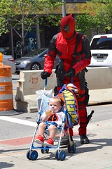 Deadpool Dad (tim.perdue) Tags: columbus costume ohio cosplay downtown marvel urban superhero city baby street bottle deadpool dad father child stroller candid comiccon 2016 convention center high st