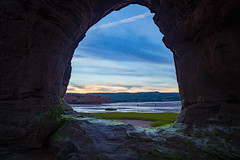 Framed (Nancy Rose) Tags: medford novascotia paddysisland beach bayoffundy lowtide sandstone rock oceanfloor sandandmud moonrise sunset rockformations 7518