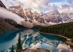 Ten Peaks Times Two (Kristin Repsher) Tags: alberta autumn banff banffnationalpark bluesky canada canadianrockies clouds d750 goldenhour morainelake morning mountains nikon reflection reflections rockies snow