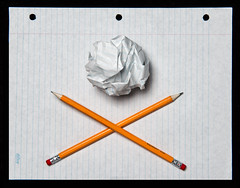back to school flag (le cabri) Tags: school paper sheet holes pencils lines ruled scrunch pirate flag back vintage oldie backtoschool furnitures scholar kids youth memories strobe strobist singlelight lifestyle
