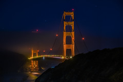 encroaching obscurities (pbo31) Tags: sanfrancisco california evening bayarea nikon d810 color september 2016 summer boury pbo31 goldengatenationalrecreationarea presidio goldengatebridge 101 bridge black night dark lightstream traffic over pacific ocean shore westcoast orange fog