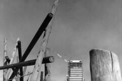 16-036_16 (gyjishukke) Tags: noiretblanc argentique analog bw minoltax700 50mm believeinfilm shootfilm ilford delta400 ie800iso scanlowdef selfdevelopment hc110b 10 20 architecture chantier renzopiano grue rondins bois