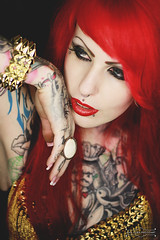 Mademoiselle Jess (sandra.scherer) Tags: red portrait make up tattoo golden close head piercing jess mademoiselle studdedbra analoraphotoart