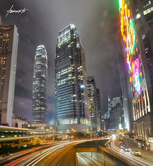 Hong Kong Central At Night (Tomasito.!) Tags: longexposure urban hk cars night buildings hongkong lights nikon central ifc ifc2 internationalfinancecenter d90 ifc1