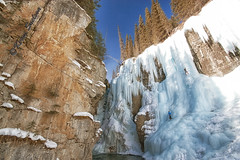 Johnston Canyon (Keeperofthezoo) Tags: trees winter cliff canada cold ice water rock frozen seasonal alberta banff banffnationalpark iceclimber johnstoncanyon explored bestexplore103