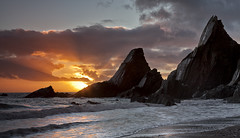 jagged edge (explored) (yadrad) Tags: sunset beach clouds rocks south hams southdevon westcombe