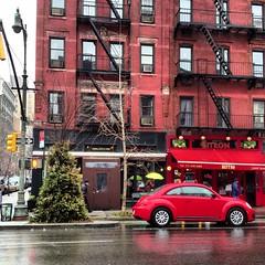 Christmas tree, Volkswagen beetle & Bistro (dannydalypix) Tags: nyc newyorkcity red newyork building car vw america umbrella volkswagen photo manhattan beetle christmastree bistro photograph umbrellas newyorknewyork volkswagon newyorklife columbusave volkswagenbeetle newyokcity nylife uploaded:by=flickrmobile flickriosapp:filter=nofilter