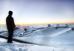 Sunset Gazer (Ben Andreas Harding) Tags: boy sunset sky mountain snow man cold person hawaii big adult snowy large wideangle summit chilly february thebigisland vulcano maunakea vast tokina1116mm28
