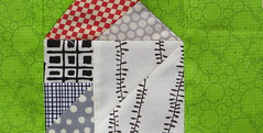 garden house block (Lotje quilts) Tags: red house black tree green grey quilt random sewing sample block patchwork along tangram architextures