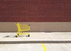 Happy Yellow Cart (Elizabeth_211) Tags: brick yellow shoppingcart uploaded:by=flickrmobile flickriosapp:filter=nofilter
