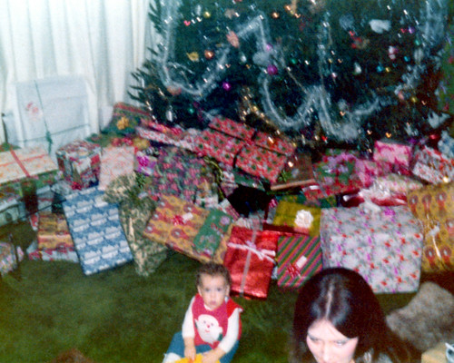 197412 - Christmastime - Clint, Mom, Christmas tree, presents - Lake Ridge