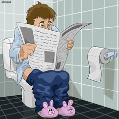 The man in a toilet (almaes2009) Tags: people cute male men wall illustration painting tile fun person reading newspaper sitting graphic image background room humor cartoon toilet thinking caricature characters stool relaxation vector slippers diarrhea defecating