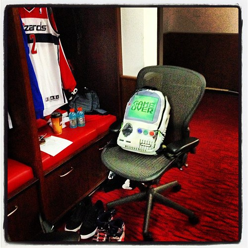"John Wall's accessory GameBoy backpack last night: ""Game Over"" #wizards"