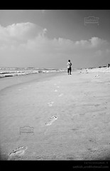 Footprints (Sathish_Photography) Tags: sea sky india white man black beach marina photography foot photo waves cloudy weekend photowalk prints lonely chennai seashore tamilnadu sathish cwc clickers