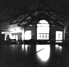Arches (-KatherineAlyce-) Tags: camera windows light bw reflection print shadows arches ceiling pinhole cafeteria ilford beams