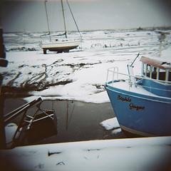 Sophie Jayne, Leigh-on-Sea (nick richards art) Tags: blue winter sea england snow water thames landscape boats coast seaside lomo lomography 120film diana coastal analogue leigh dianaf essex leighonsea southend analoguephotography