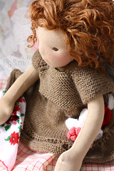 Louna in her knit dress (Fig & Me) Tags: dolls handmade boneca mueca lalka clothdoll popje ningyou stoffpuppe figandme poupedollclothes