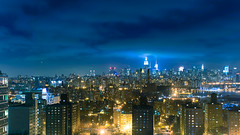 New York Lights (Guillermo Murcia) Tags: nyc newyorkcity blue light urban newyork brooklyn night clouds skyscraper lights cosmopolitan downtown weekend manhattan bluesky landmark aerial newyorker midtown explore eastriver empirestatebuilding fortgreene downtownbrooklyn capitaloftheworld newyorkcityboroughs guillermomurcia